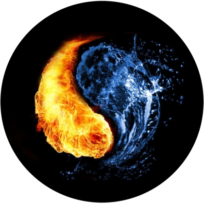 Fire and Water Yin Yang Tire Cover