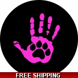 Hand Print Paw Print Pink Spare Tire c..