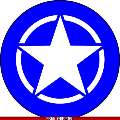 Blue with White Jeep Star Spare Tire Cover