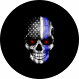 Thin Blue Line Flag Skull with Red Eyes