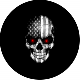 Black and White Flag Skull with Red Eyes