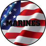 Marines on American Flag Spare Tire Co..