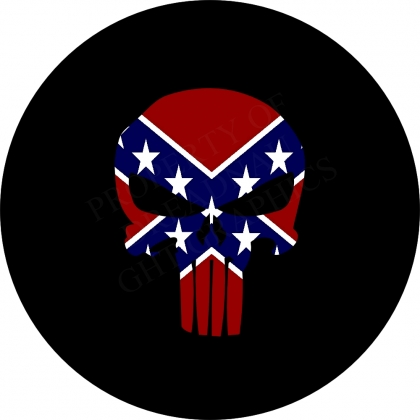 Punisher Skull Rebel Flag Spare Tire Cover