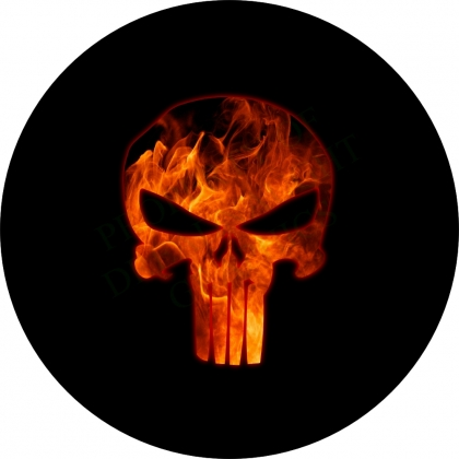 Punisher Skull Flame Spare Tire Cover
