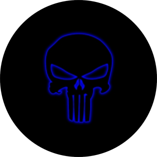 Punisher Skull Outline Blue Glow Spare..