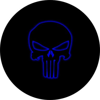 Punisher Skull Outline Blue Glow Spare Tire Cover