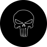 Punisher Skull White Glow Tire Cover