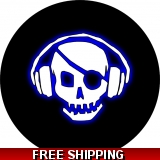 Pirate Skull with Blue Headphones Spar..