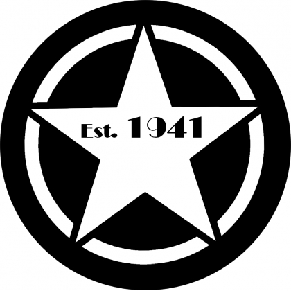 Established 1941 Vintage White Jeep Star Tire Cover