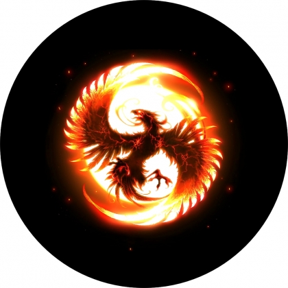 Spare Tire Cover with Phoenix On Fire
