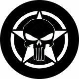 Spare tire cover with Punisher Skull o..