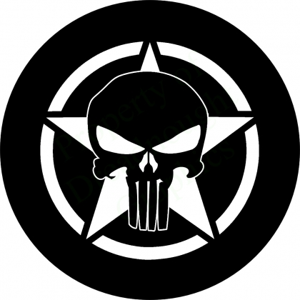 Spare tire cover with Punisher Skull on Jeep Star