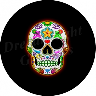 Sugar Skull Neon Spare Tire Cover