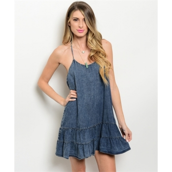 T Back Denim Mini Dress