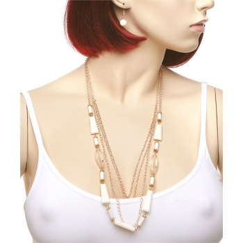 White Necklace & Earring Set