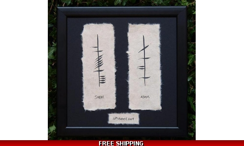 Handpainted Ogham Wedding Plaque with date