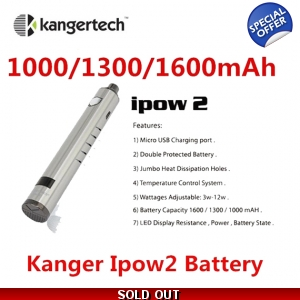 Kanger IPOW 2 1300mAh LCD Screen VV Twist Passthrough Battery with USB