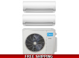 Midea 2 Zone 18K Mini Split Heat Pump AC up to 21 SEER
