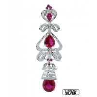 Sterling Silver Coloured Ruby and Zircon Earring
