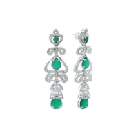 Sterling Silver Green Onyx and Zircon Earring