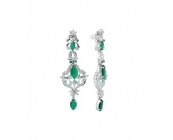 Sterling Silver Green Onyx and Zircon Earring in..