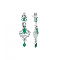 Sterling Silver Green Onyx and Zircon Earring in Marquise design