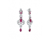 Sterling Silver Red Onyx and Zircon Earring in M..