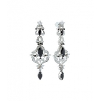 Sterling Silver Black Onyx and Zircon Earring in Marquise design