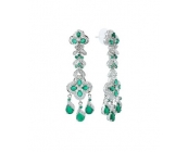 Zircon Studded Sterling Silver Earring with Squa..