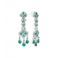 Zircon Studded Sterling Silver Earring with Square cut Green Onyx Stones