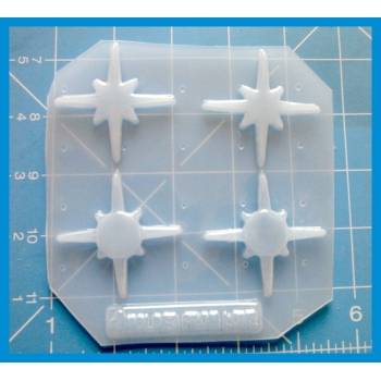 set of 4 Retro Starburst Shapes handmade Plastic Mold