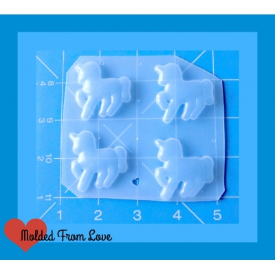 4 kawaii Small Unicorn shapes Handmade Plastic mold