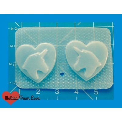 2 kawaii unicorns on Heart Shapes handmade Plastic Mold2