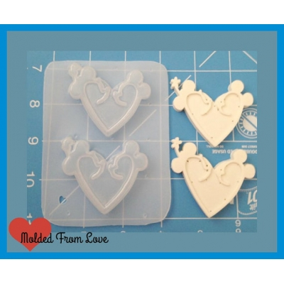 2 Girl and Boy Mouse Love Hearts Handmade Plastic Mold