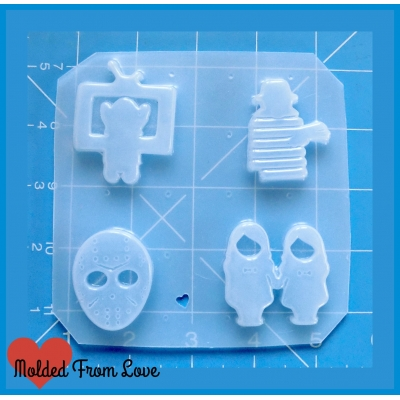 4 small Horror Movie Icons Handmade Plastic Mold