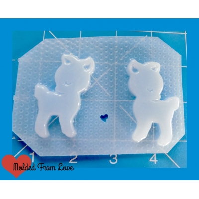 2 Kawaii little Deer Handmade Plastic Mold