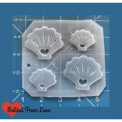 Open Shell Shapes with hearts handmade Plastic Mold