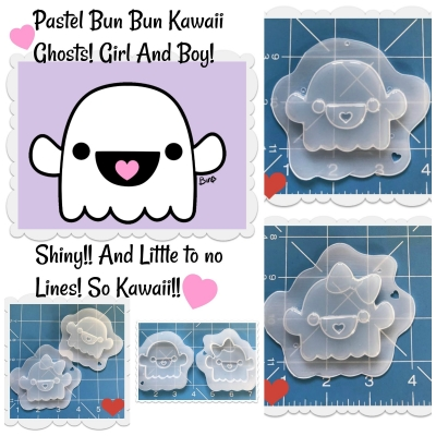 Pastel Bun Bun Kawaii Girl And Boy Ghosts Handmade Plastic Mold
