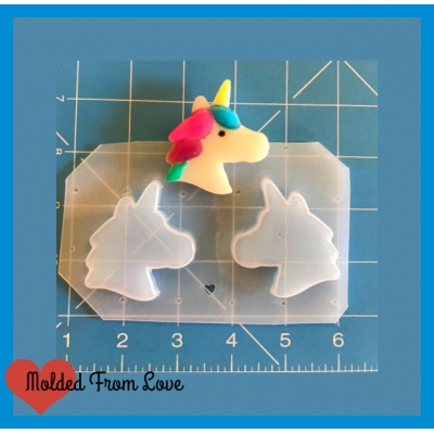 Molded From Love Kawaii Unicorn Head Cookie Shape Handmade Plastic Mold