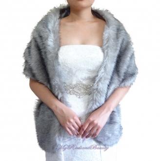 Grey Faux Fur Wraps