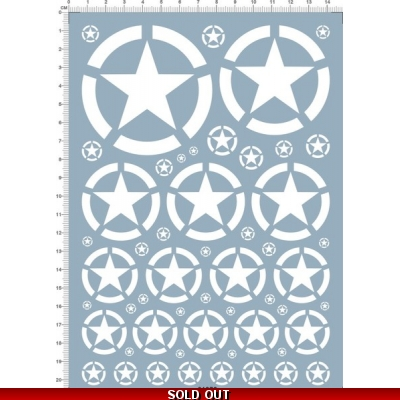1/16 Scale WWII US Star Water Slide Decals