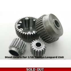 [DK] Steel gears for Tamiya 1/16 Leopard2 or Type-10 or Abram M1