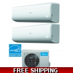 Midea 21 SEER 2 Room 2x9000 BTU Dual Zone Mini Split Heat Pump AC