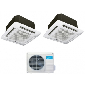 Midea Dual Zone 18k 21 SEER Ceiling Cassette Mini Split Heat Pump AC