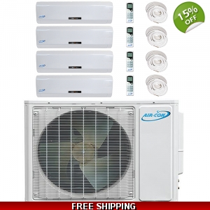 AirCon Quad Zone 4x12000 BTU 16 SEER Mini Split Heat Pump AC
