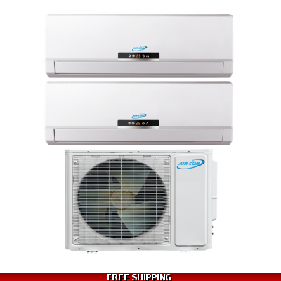 AirCon Dual Zone 12000 + 9000 BTU 22 SEER Mini Split Heat Pump AC