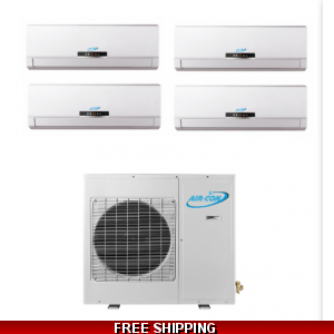 AirCon Quad Zone 4x9000 BTU 21 SEER Mini Split Heat Pump AC