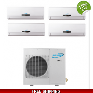 AirCon Quad Zone 4x12000 BTU 21 SEER Mini Split Heat Pump AC