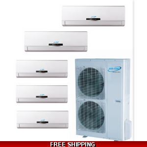 AirCon Quint Zone 5x9000 BTU 21 SEER Mini Split Heat Pump AC