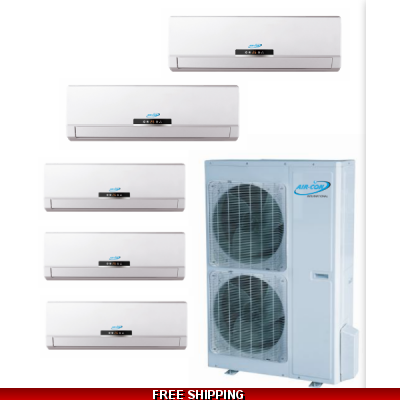 AirCon Quint Zone 5x12000 BTU 21 SEER Mini Split Heat Pump AC